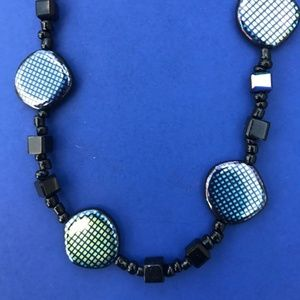 Black and Blue Glass Bead Necklace